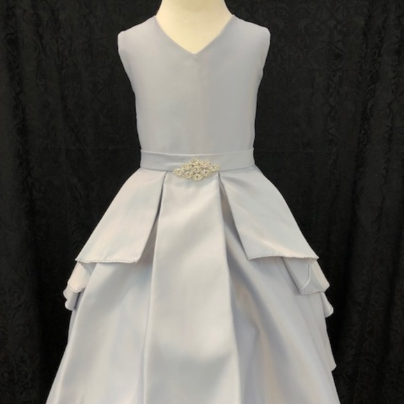 kids silver satin formal party dress